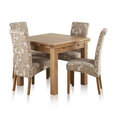 Dorset Natural Solid Oak 3ft Extending Table + 4 Scroll Back Patterned Beige Fabric Chairs