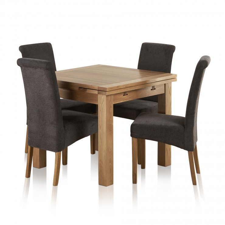 Dorset Natural Solid Oak 3ft Extending Table with 4 Scroll Back Plain Charcoal Fabric Chairs - Image 7