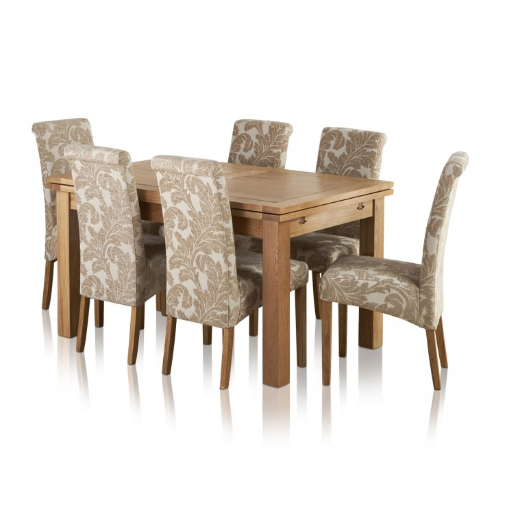 """Dorset Natural Solid Oak 4ft 7"""" Extending Table + 6 Scroll Back Chairs - Image 7"""