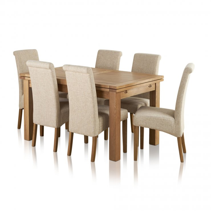 """Dorset Natural Solid Oak 4ft 7"""" Extending Table With 6 Scroll Back Plain Beige Fabric Chairs - Image 7"""