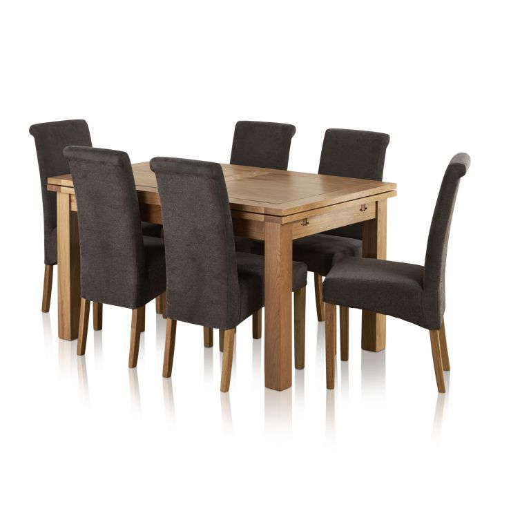 "Dorset Natural Solid Oak 4ft 7"" Extending Table with 6 Scroll Back Plain Charcoal Fabric Chairs - Image 8"