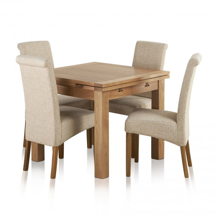 Dorset Natural Solid Oak Dining Set - 3ft Extending Table + 4 Scroll Back Plain Beige Fabric Chairs - Image 7