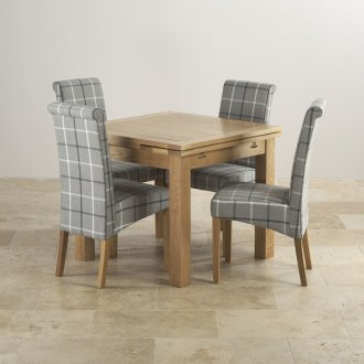 Dorset Natural Oak Dining Set - 3ft Extending Table with 4 Scroll back Check Granite Fabric Chairs