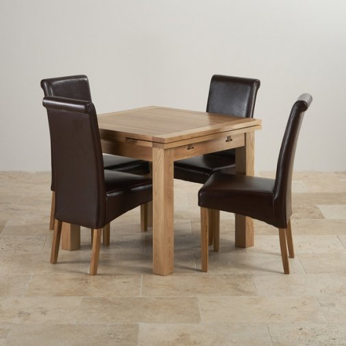3ft Table With 4 Beige Chairs: Kemble Extending Dining Set In Painted Oak: Table + 6 Chairs