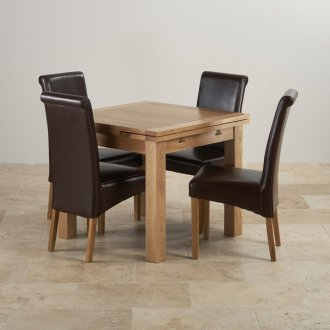 Dorset Solid Oak Dining Set - 3ft Extending Table + 4 Leather Chairs