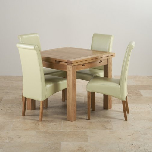 Dorset Natural Solid Oak Dining Set - 3ft Extending Table with 4 Scroll Back Cream Leather Chairs