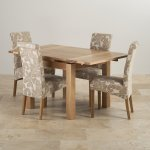 Dorset Natural Solid Oak 3ft Extending Table + 4 Scroll Back Patterned Beige Fabric Chairs - Thumbnail 2