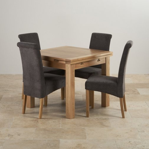 Dorset Natural Solid Oak 3ft Extending Table with 4 Scroll Back Plain Charcoal Fabric Chairs