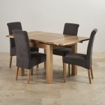 Dorset Natural Solid Oak 3ft Extending Table with 4 Scroll Back Plain Charcoal Fabric Chairs - Thumbnail 2