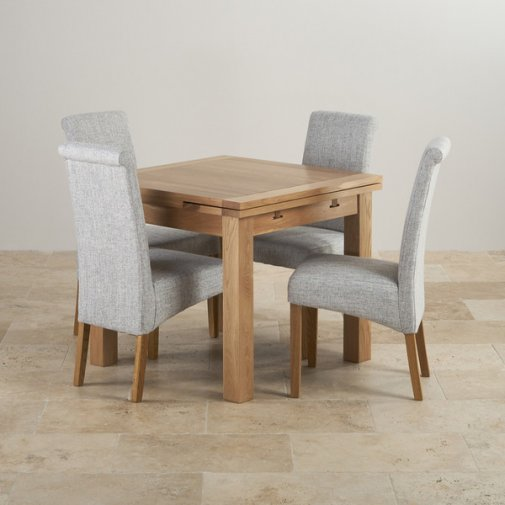 Dorset Natural Solid Oak Dining Set - 3ft Extending Table and 4 Scroll Back Plain Grey Fabric Chairs