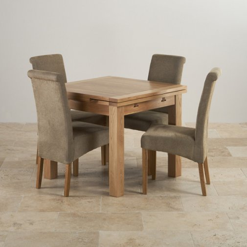 Dorset Natural Solid Oak Dining Set - 3ft Extending Table and 4 Scroll Back Plain Sage Fabric Chairs