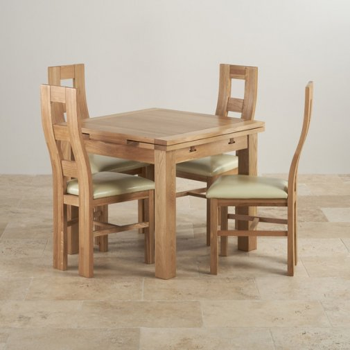 Dorset Natural Solid Oak Dining Set - 3ft Extending Table with 4 Wave Back and Cream Leather Chairs