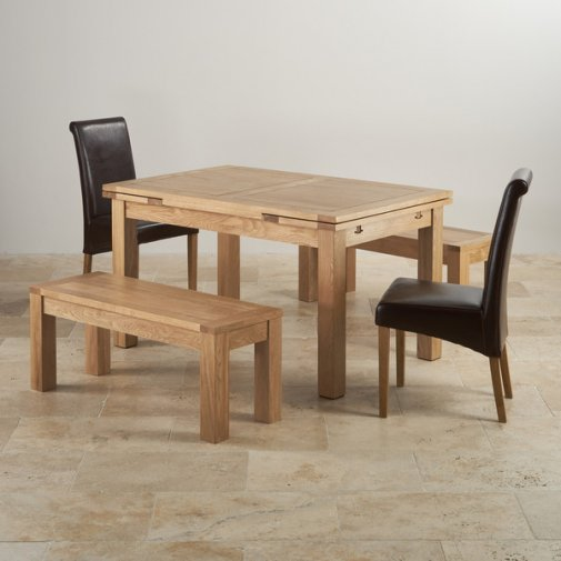 "Dorset Natural Oak Dining Set - 4ft 7"" Extending Table with 2 x 3ft 7"" Benches and 2 x Scroll Back B"