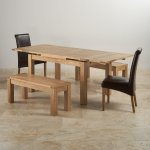 """Dorset Natural Oak Dining Set - 4ft 7"""" Extending Table with 2 x 3ft 7"""" Benches and 2 x Scroll Back B - Thumbnail 3"""