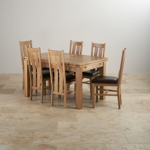 "Dorset Natural Solid Oak Dining Set - 4ft 7"" Extending Table with 6 Arched Back Brown Leather Chairs"