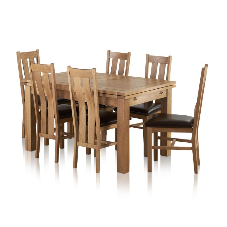 "Dorset Natural Solid Oak Dining Set - 4ft 7"" Extending Table with 6 Arched Back Brown Leather Chairs - Image 8"