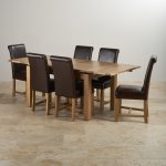 """Dorset Natural Solid Oak - 4ft 7"""" Extending Table + 6 Leather Chairs - Thumbnail 2"""