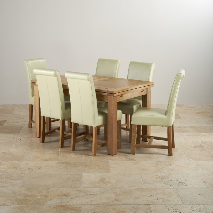 """Dorset Oak 4ft 7"""" Dining Table With 6 Braced Chairs"""