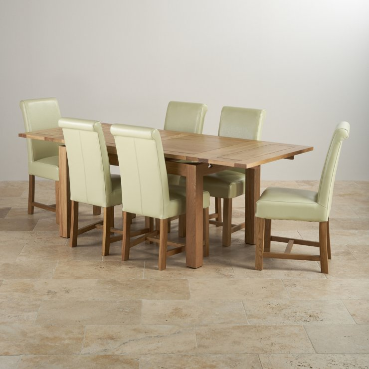 "Dorset 4ft 7"" Extending Table + 6 Cream Leather Chairs"