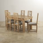 "Dorset Natural Oak Dining Set - 4ft 7"" Extending Table + 6 Fret Back & Plain Truffle Fabric Chairs - Thumbnail 2"