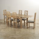 "Dorset Natural Oak Dining Set - 4ft 7"" Extending Table + 6 Fret Back & Plain Truffle Fabric Chairs - Thumbnail 3"