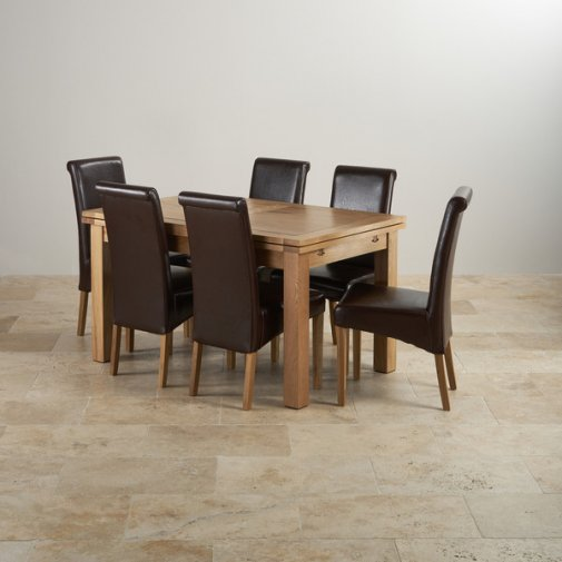 """Dorset Natural Solid Oak Dining Set - 4ft 7"""" Extending Table with 6 Scroll Back Brown Leather Chairs"""