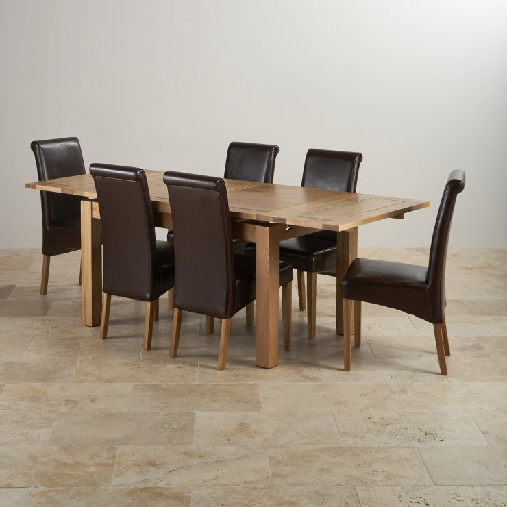 "Dorset Natural Solid Oak Dining Set - 4ft 7"" Extending Table with 6 Scroll Back Brown Leather Chairs"