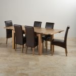 "Dorset Natural Solid Oak Dining Set - 4ft 7"" Extending Table with 6 Scroll Back Brown Leather Chairs - Thumbnail 2"