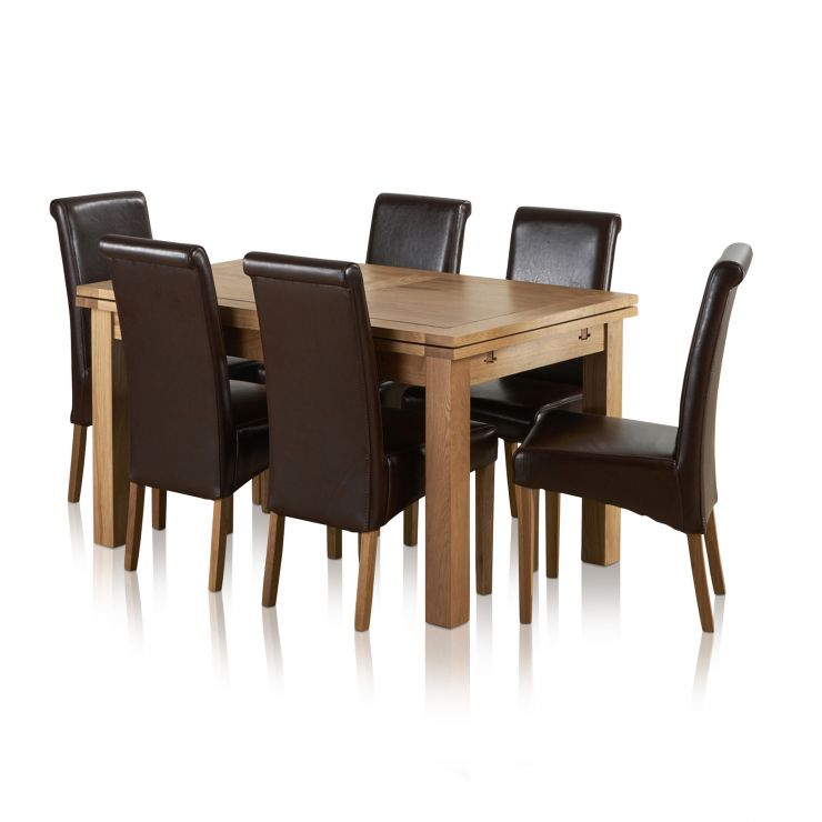 """Dorset Natural Solid Oak Dining Set - 4ft 7"""" Extending Table with 6 Scroll Back Brown Leather Chairs - Image 8"""