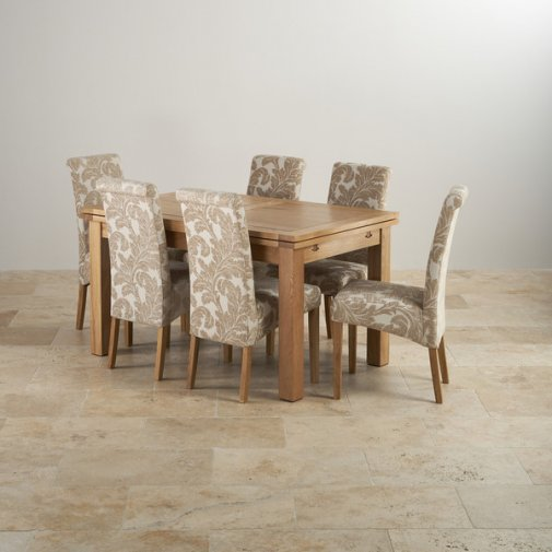 """Dorset Natural Solid Oak 4ft 7"""" Extending Table + 6 Scroll Back Chairs"""