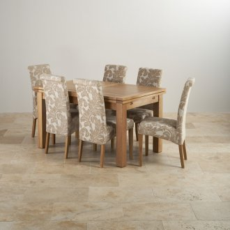 "Dorset Natural Solid Oak 4ft 7"" Extending Table + 6 Scroll Back Chairs"