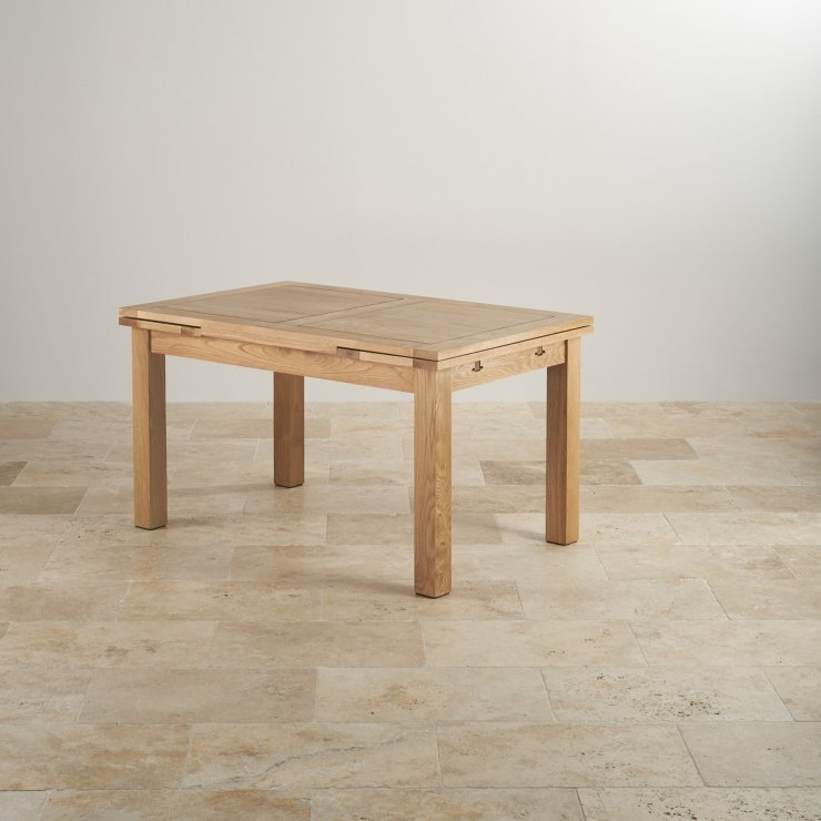 "Dorset Natural Solid Oak 4ft 7"" Extending Table With 6 Scroll Back Plain Beige Fabric Chairs"