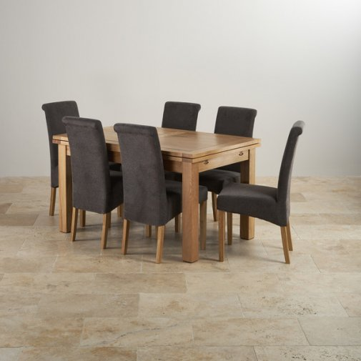 "Dorset Natural Solid Oak 4ft 7"" Extending Table with 6 Scroll Back Plain Charcoal Fabric Chairs"