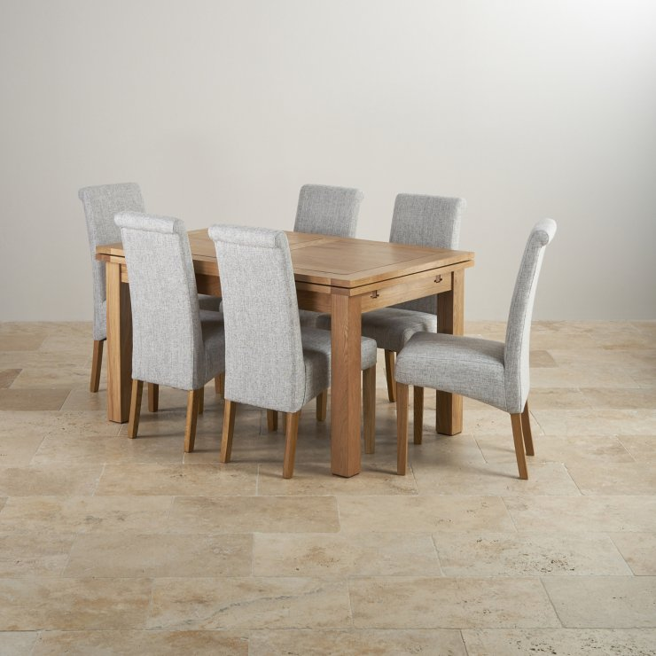 "Dorset Natural Solid Oak 4ft 7"" Extending Table with 6 Scroll Back Plain Grey Fabric Chairs"