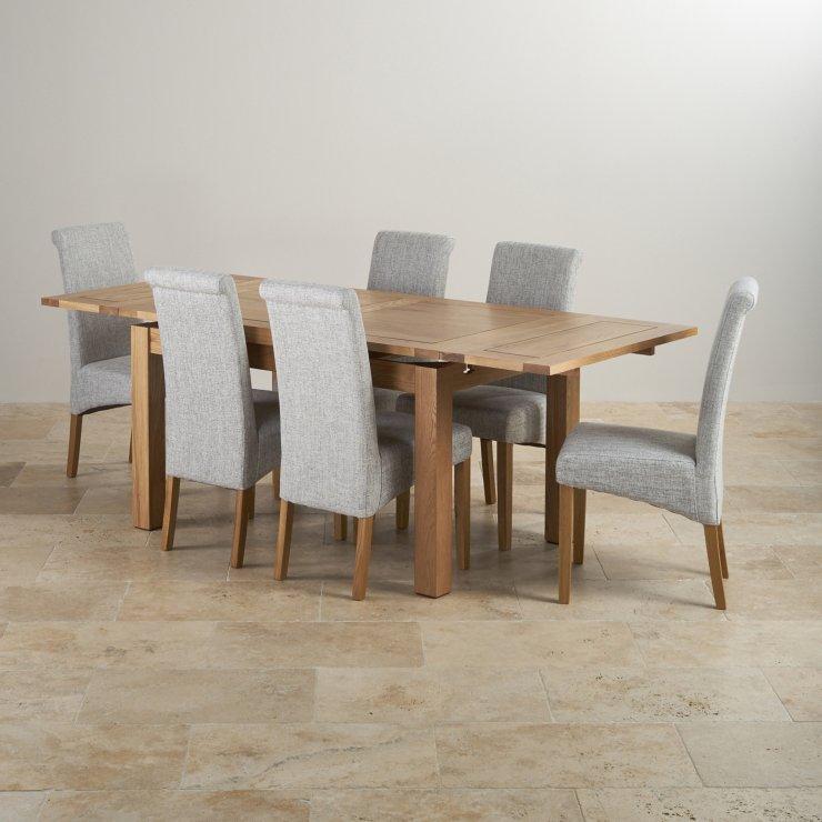 Dorset Dining Set in Oak Extending Table 6 Grey Fabric  : dorset natural solid oak dining set 4ft 7 extending table with 6 scroll back plain grey fabric chairs 56f29eb12d456ea1b6c74aea1eb2e1ee469da725e7a09 from www.oakfurnitureland.co.uk size 740 x 740 jpeg 67kB