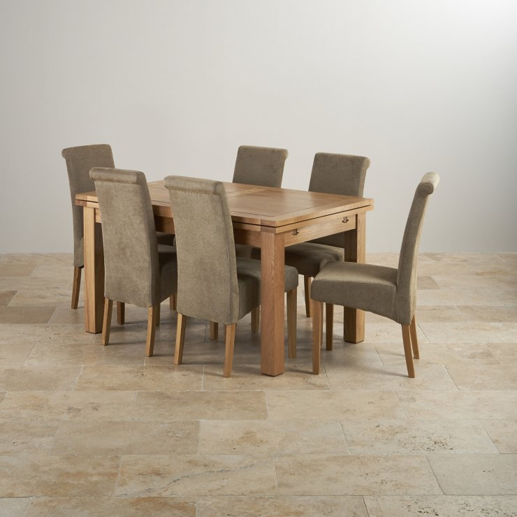 """Dorset Natural Solid Oak 4ft 7"""" Extending Table with 6 Scroll Back Plain Sage Fabric Chairs"""