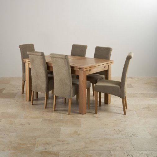 "Dorset Natural Solid Oak 4ft 7"" Extending Table with 6 Scroll Back Plain Sage Fabric Chairs"