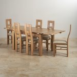 Dorset Natural Solid Oak Dining Set - 4ft 7 Extending Table with 6 Wave Back and Beige Fabric Chairs - Thumbnail 3
