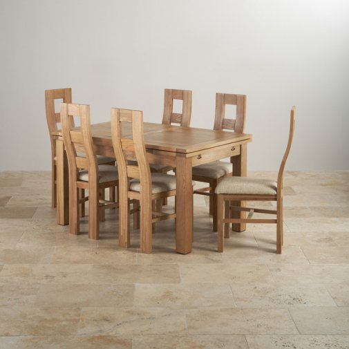Kemble Extending Dining Set in Painted Oak: Table + 6 Chairs