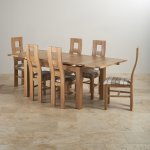 "Dorset Natural Solid Oak Dining Set - 4ft 7"" Extending Table with 6 Wave Back and Brown Check Chairs - Thumbnail 2"