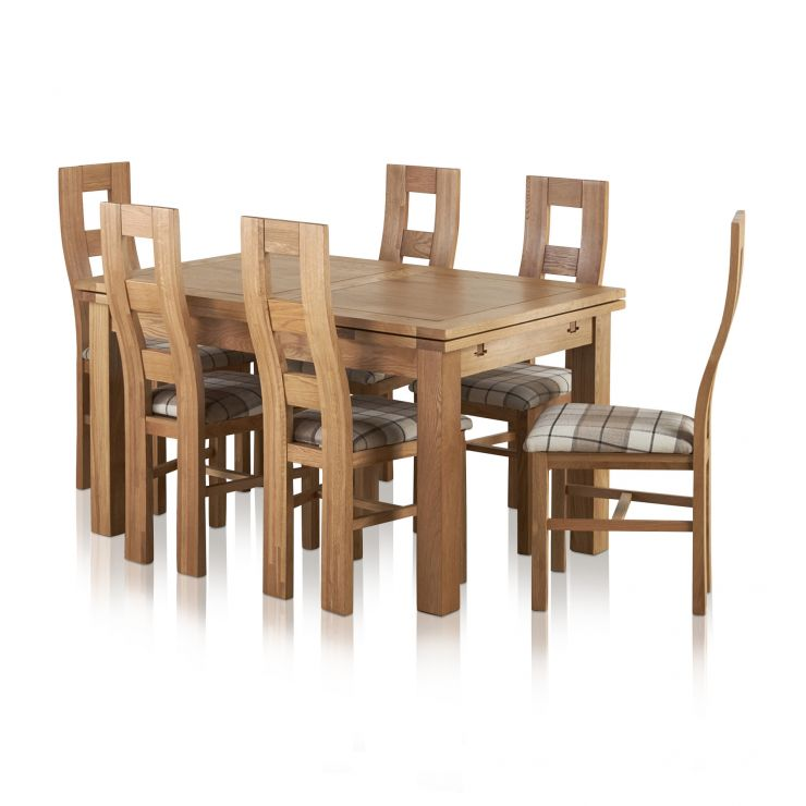 "Dorset Natural Solid Oak Dining Set - 4ft 7"" Extending Table with 6 Wave Back and Brown Check Chairs"