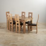 """Dorset Natural Solid Oak Dining Set -4ft 7"""" Extending Table and 6 Wave Back and Brown Leather Chairs - Thumbnail 2"""