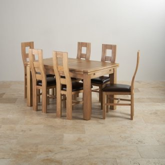"""Dorset Natural Solid Oak Dining Set -4ft 7"""" Extending Table and 6 Wave Back and Brown Leather Chairs"""