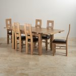 """Dorset Natural Solid Oak Dining Set -4ft 7"""" Extending Table and 6 Wave Back and Brown Leather Chairs - Thumbnail 3"""
