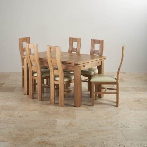 "Dorset Natural Solid Oak Dining Set -4ft 7"" Extending Table and 6 Wave Back and Cream Leather Chairs"