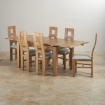 Dorset Natural Solid Oak Dining Set - 4ft 7 Extending Table with 6 Wave Back and Grey Fabric Chairs - Thumbnail 2