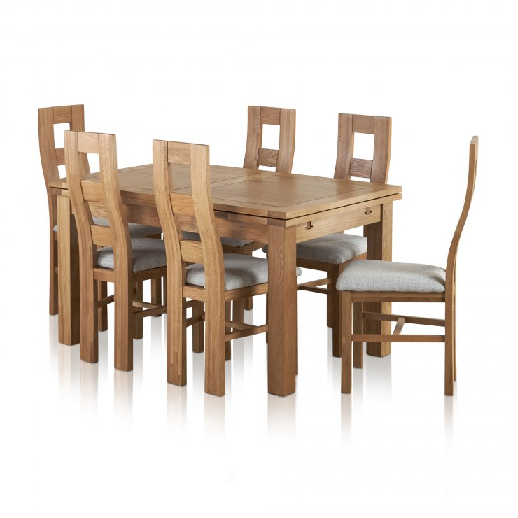 Dorset Natural Solid Oak Dining Set - 4ft 7 Extending Table with 6 Wave Back and Grey Fabric Chairs - Image 7