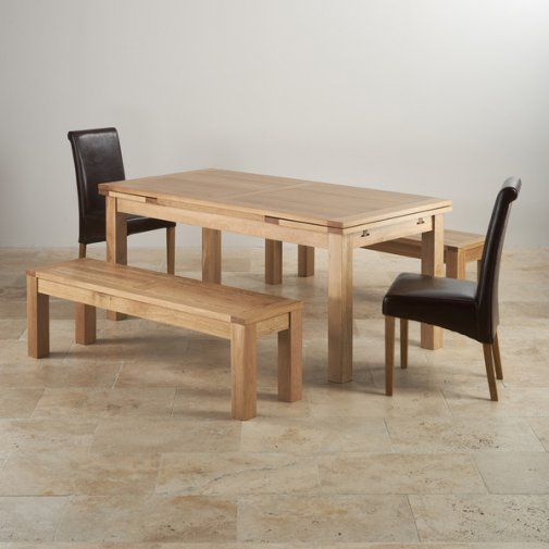 "Dorset Natural Oak Dining Set - 6ft Extending Table with 2 x 4ft 11"" Benches and 2 x Scroll Back Brown Leather Chairs"