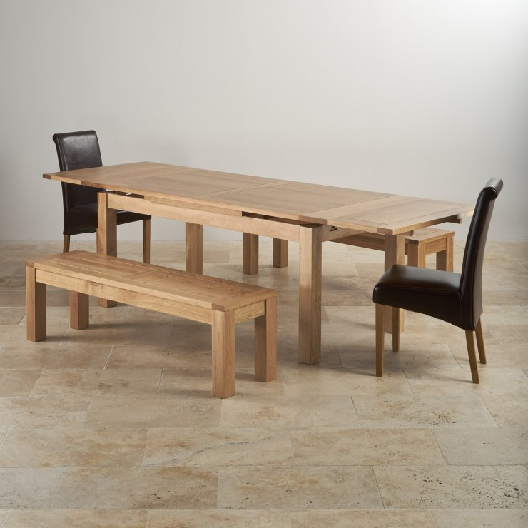 """Dorset Natural Oak Dining Set - 6ft Extending Table with 2 x 4ft 11"""" Benches and 2 x Scroll Back Brown Leather Chairs"""