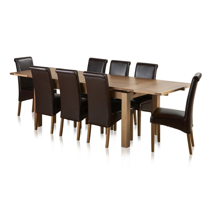 Dorset Natural Solid Oak Dining Set - 6ft Extending Table with 8 Scroll Back Brown Leather Chairs - Image 7